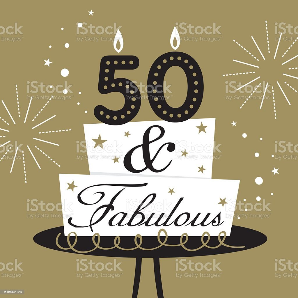 fifty and fabulous cake vector art illustration