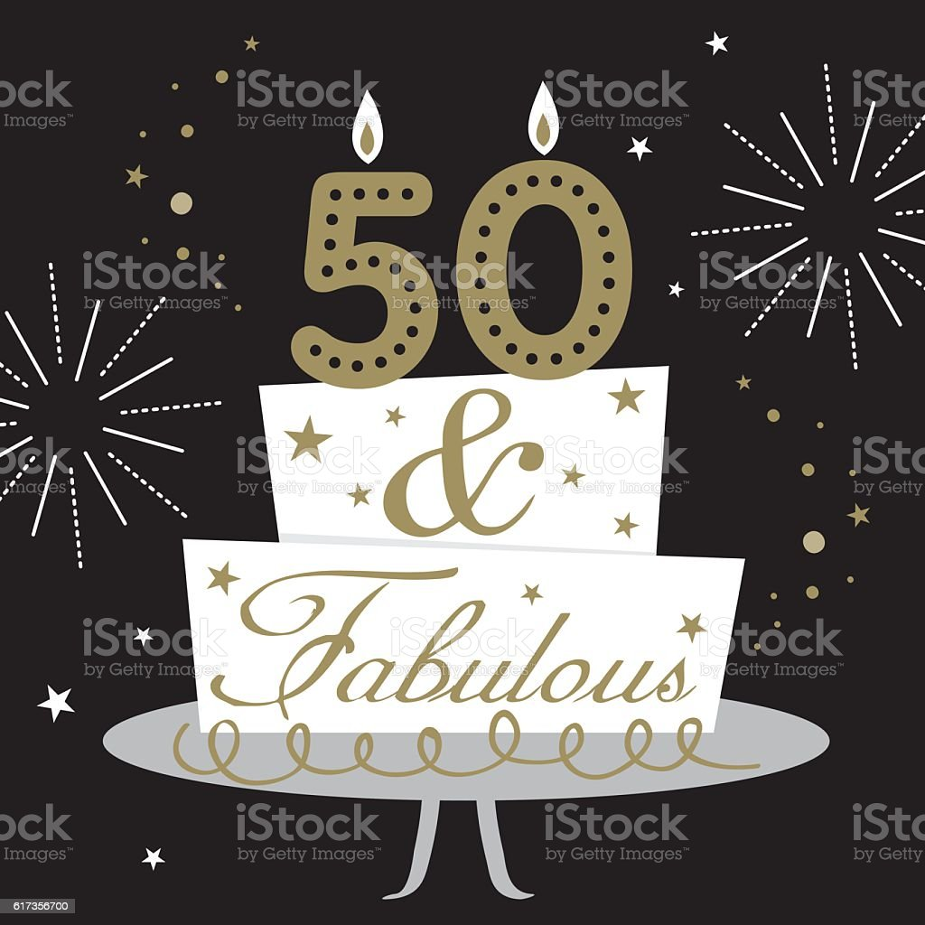 fifty and fabulous card vector art illustration