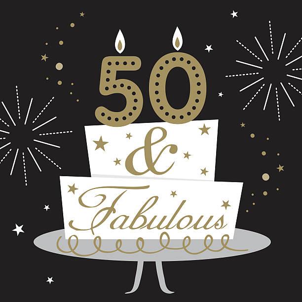 fifty and fabulous card - ilustração de arte em vetor