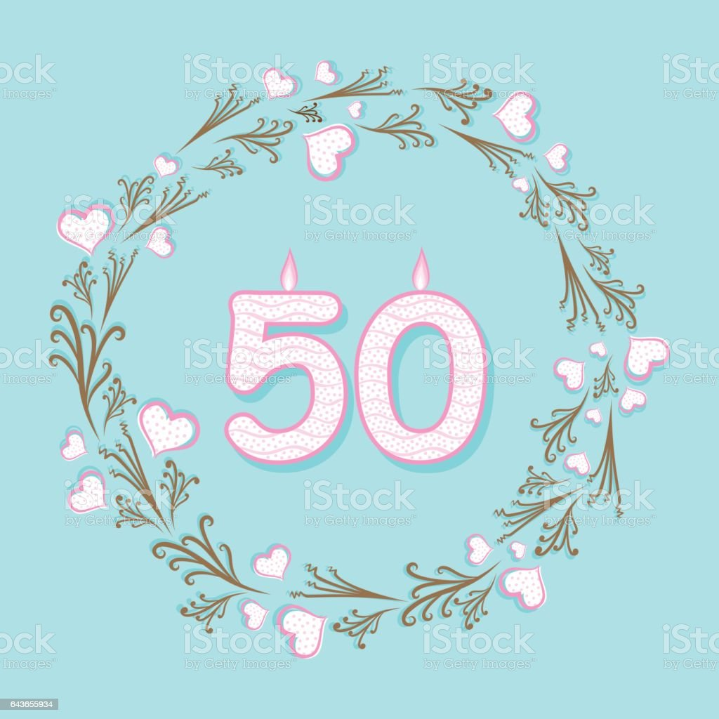 fifty anniversary greeting design vector art illustration