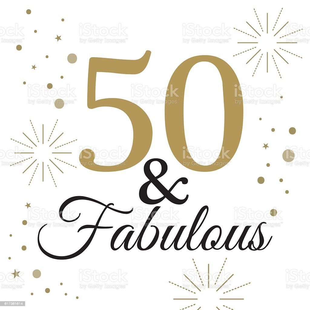 50 Fabulous Graphic: Fifty Anniversary Stock Illustration