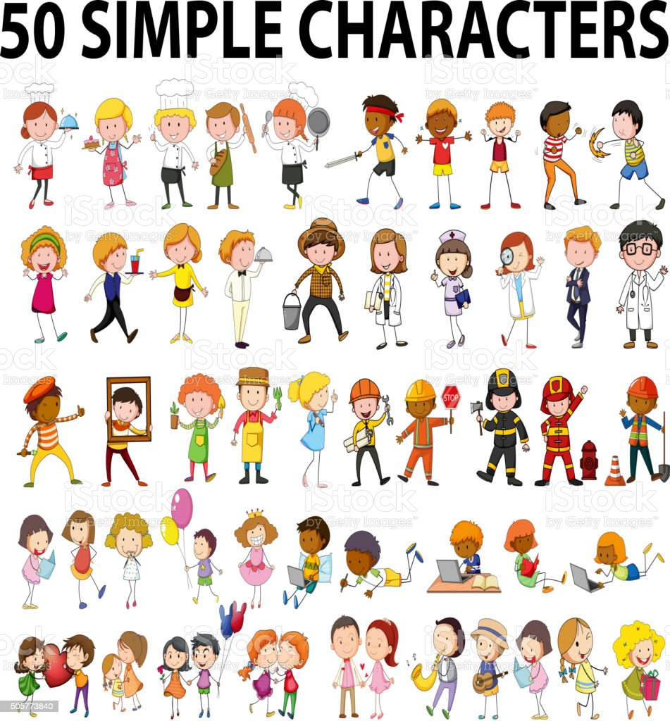 Fifty different type of people vector art illustration