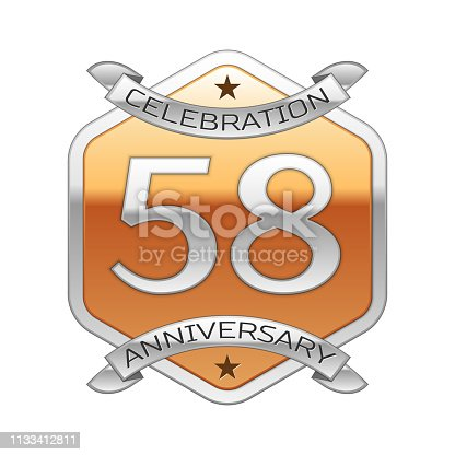 Fifty eight 58 Years Anniversary Celebration Design. Silver ribbon and golden hexagonal ornament on white background. Colorful Vector template elements for your birthday party