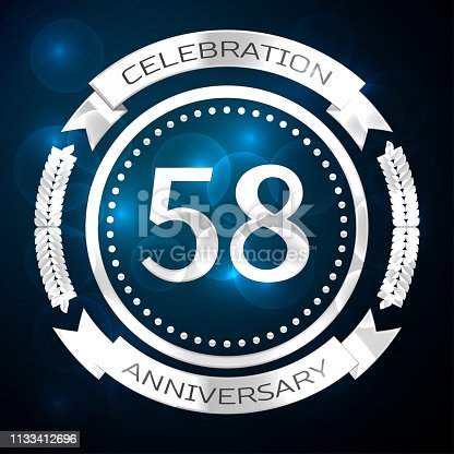 Fifty eight 58 Years Anniversary Celebration Design. Silver ring and ribbon on blue background. Colorful Vector template elements for your birthday party