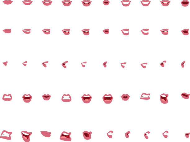 fifty female mouth positions in vector -pink lips - otwór gębowy stock illustrations