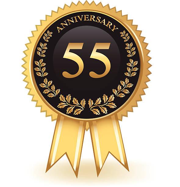 bildbanksillustrationer, clip art samt tecknat material och ikoner med fifty five year anniversary - 55 59 år