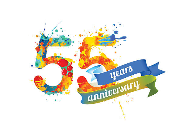 bildbanksillustrationer, clip art samt tecknat material och ikoner med fifty five years anniversary - 55 59 år