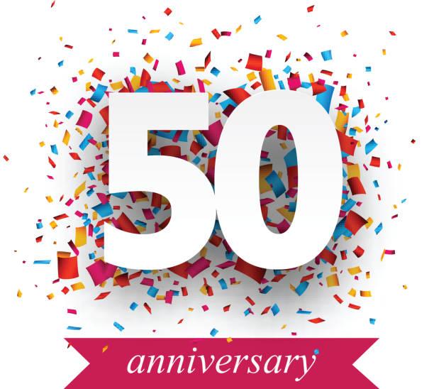 Placa de cinquenta Confete de papel - ilustração de arte em vetor