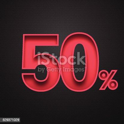Fifty percent off. Discount 50%.