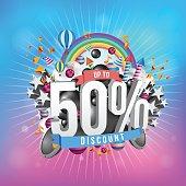Fifty percent discount design.