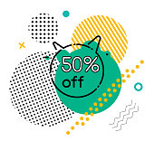 Sale for special holidays or season. Promotional banner with 50 percent off price, half reduction. Circle with horns and decorative geometric shapes. Abstract decor on clearance announcement vector