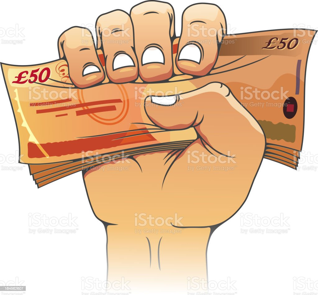 Fifty pounds banknote in hand royalty-free stock vector art