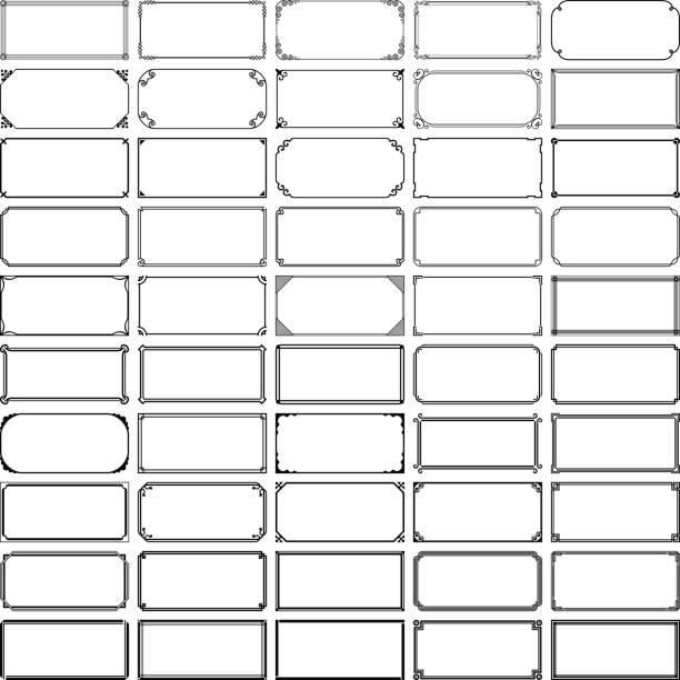 illustrazioni stock, clip art, cartoni animati e icone di tendenza di cinquanta fotogrammi rettangolari (set 1) - semplicità