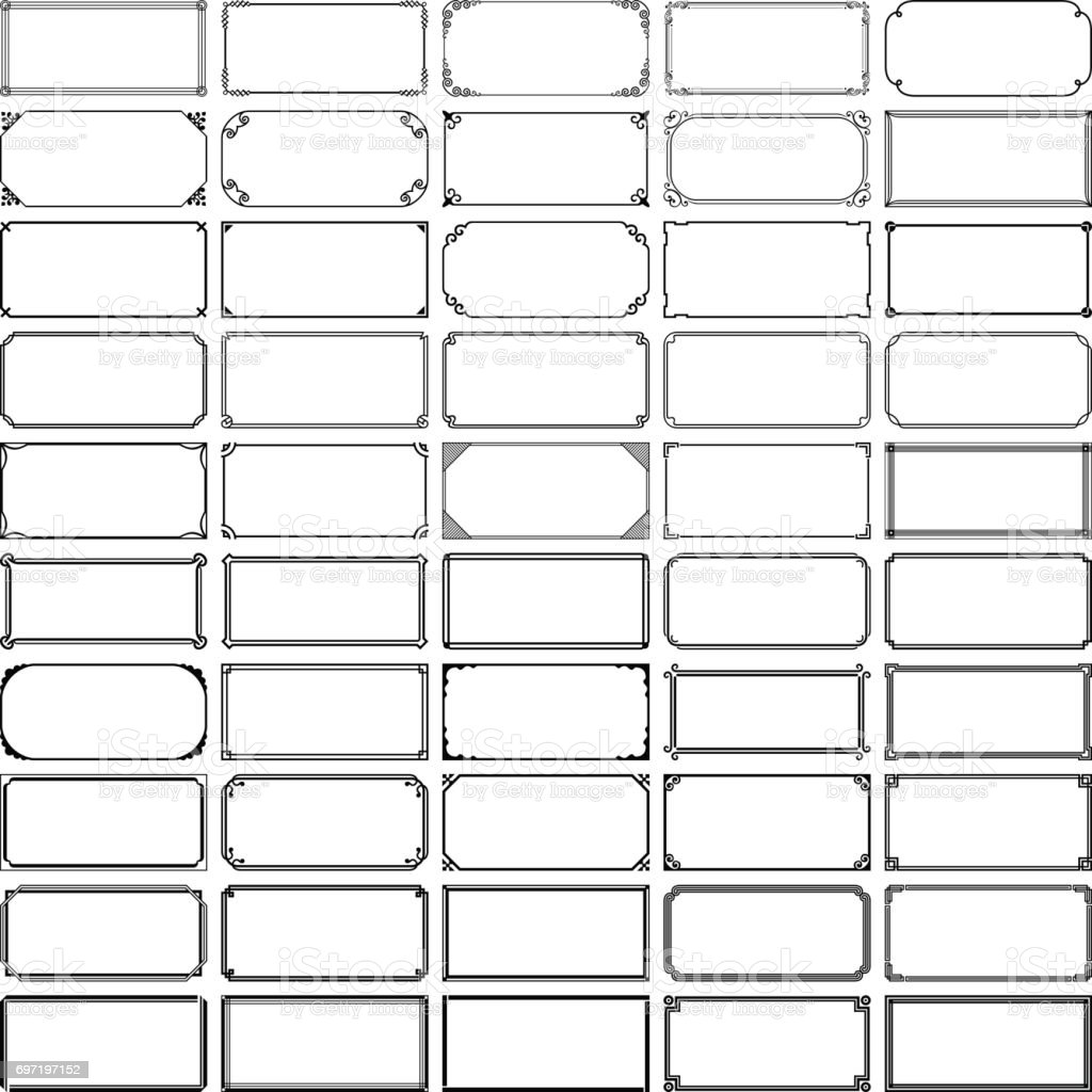 Fifty rectangle frames (set 1) vector art illustration