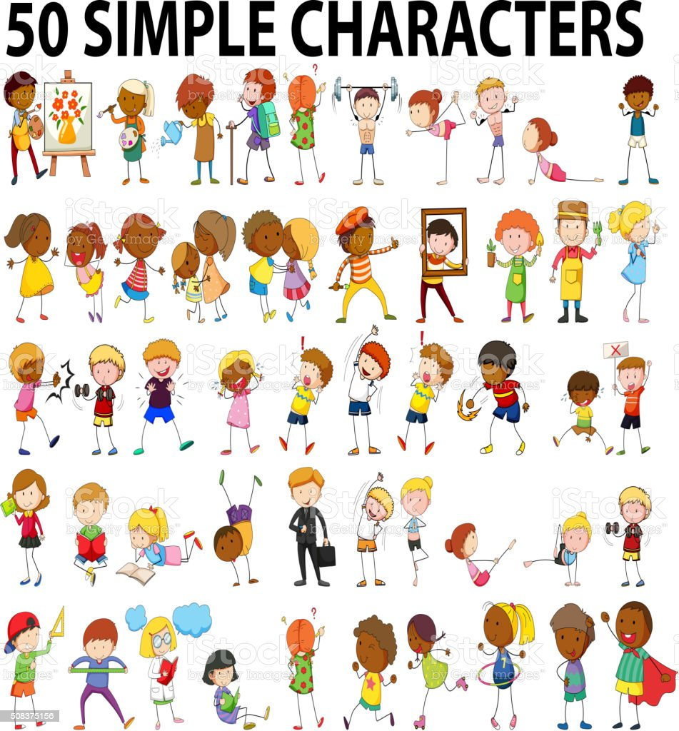 Fifty simple characters doing different activities vector art illustration