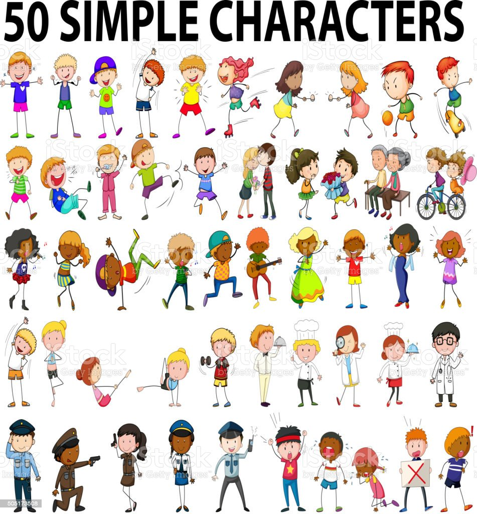 Fifty simple characters young and old vector art illustration