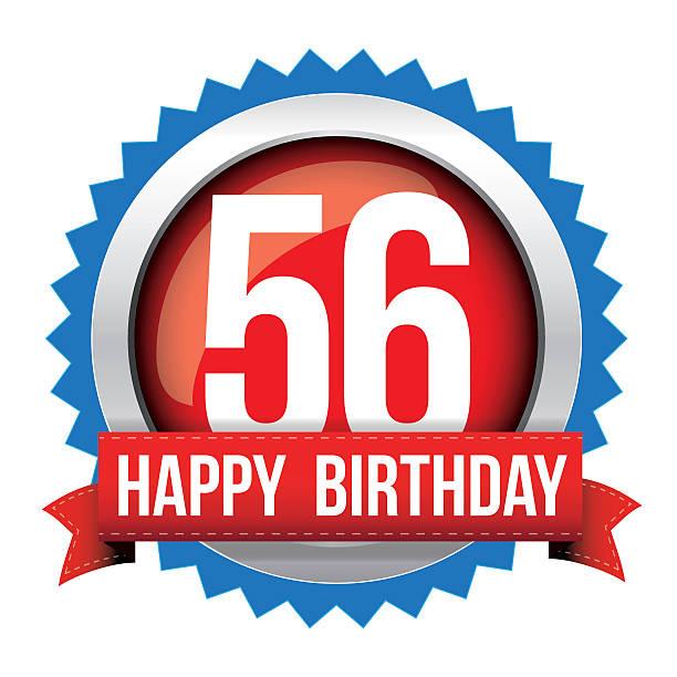 bildbanksillustrationer, clip art samt tecknat material och ikoner med fifty six years happy birthday badge ribbon - 55 59 år