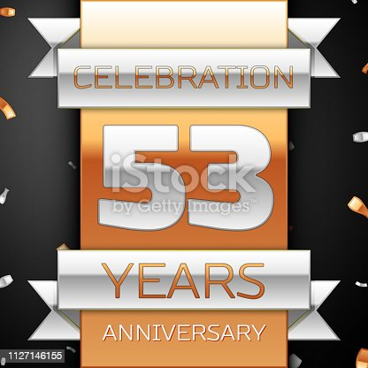 Fifty three years anniversary celebration golden and silver background. Anniversary ribbon