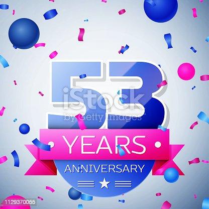 Fifty three years anniversary celebration on grey background. Anniversary ribbon
