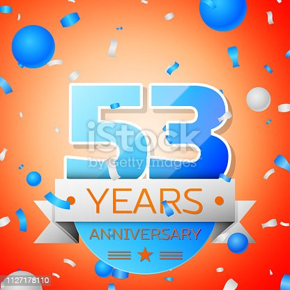 Fifty three years anniversary celebration on orange background. Anniversary ribbon