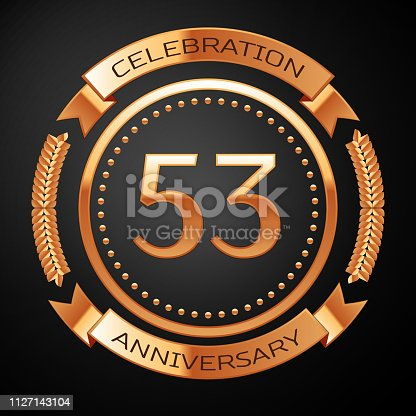 Fifty three years anniversary celebration with golden ring and ribbon.