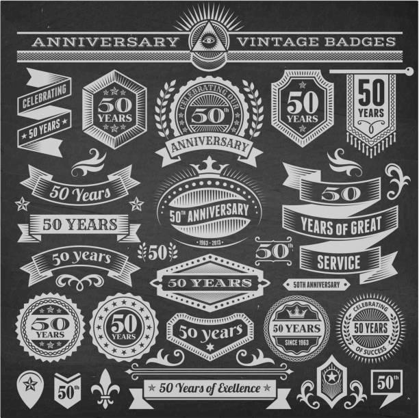 bildbanksillustrationer, clip art samt tecknat material och ikoner med fifty year anniversary hand-drawn chalkboard royalty free vector background - 50 54 år