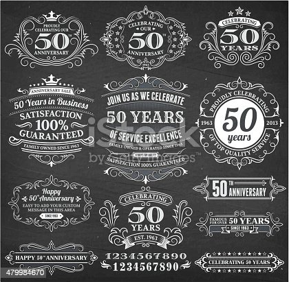 fifty year anniversary hand-drawn chalkboard royalty free vector background. This image depicts a black chalkboard with multiple fifty year anniversary announcement designs. There is chalk dust remaining on the chalkboard and the chalkboard texture serves a perfect backdrop for making the fifty year anniversary announcements look authentic and elegant.