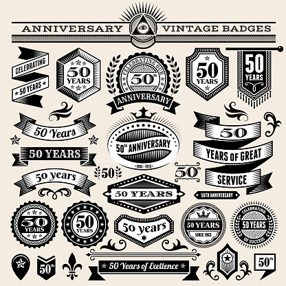 fifty year anniversary hand-drawn royalty free vector background on paper