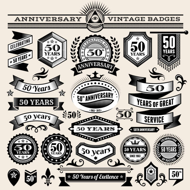 fifty year anniversary hand-drawn royalty free vector background on paper fifty year anniversary hand-drawn royalty free vector background on paper. This image depicts a paper background with multiple fifty year anniversary announcement designs. The beige paper background serves a perfect backdrop for making the fifty year anniversary announcements look authentic and elegant. The fifty year anniversary hand-drawn design are unique and intricate in design and are ideal for your fifty year anniversary design announcements. pattern stock illustrations