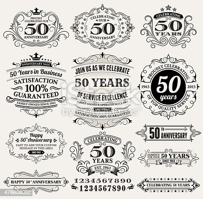 fifty year anniversary hand-drawn royalty free vector background on paper. This image depicts a paper background with multiple fifty year anniversary announcement designs. The beige paper background serves a perfect backdrop for making the fifty year anniversary announcements look authentic and elegant. The fifty year anniversary hand-drawn design are unique and intricate in design and are ideal for your fifty year anniversary design announcements.