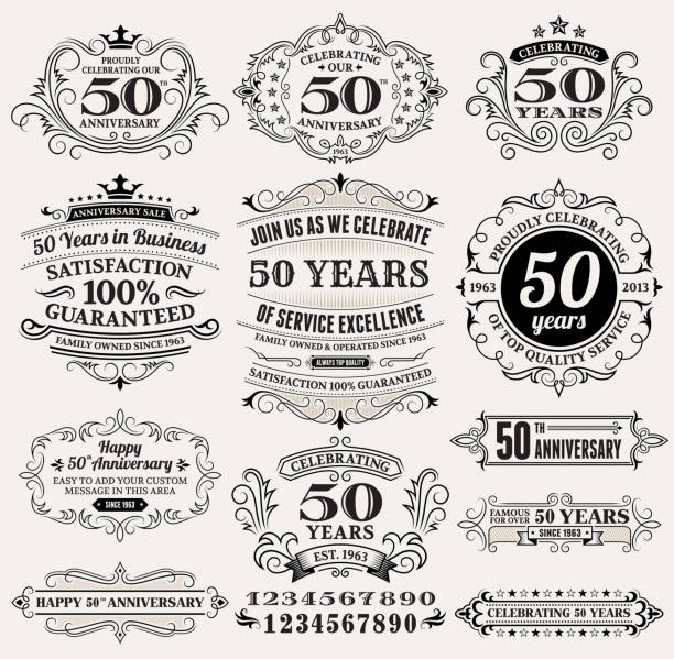 Cinquenta anos da mão desenhada em vetor royalty free de fundo sobre papel - ilustração de arte em vetor