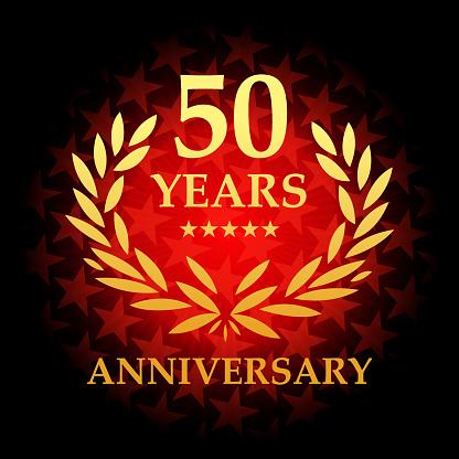 붉은 색 별 모양 배경으로 50 년 주년 아이콘 50에 대한 스톡 벡터 아트 및 기타 이미지