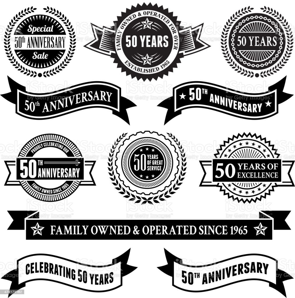 fifty year anniversary vector badge set royalty free vector background vector art illustration