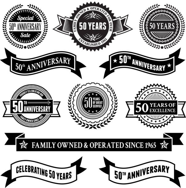 bildbanksillustrationer, clip art samt tecknat material och ikoner med fifty year anniversary vector badge set royalty free vector background - 50 54 år