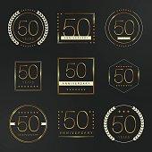 Fifty years anniversary celebration logotype. 50th anniversary gold logo set.