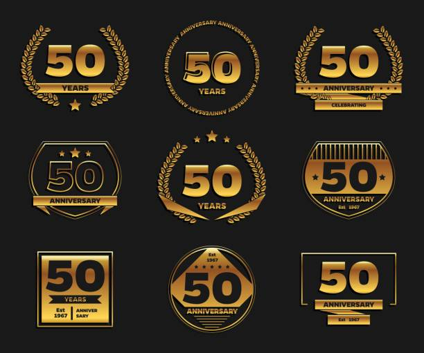 Fifty years anniversary celebration logotype. 50th anniversary gold logo set. vector art illustration