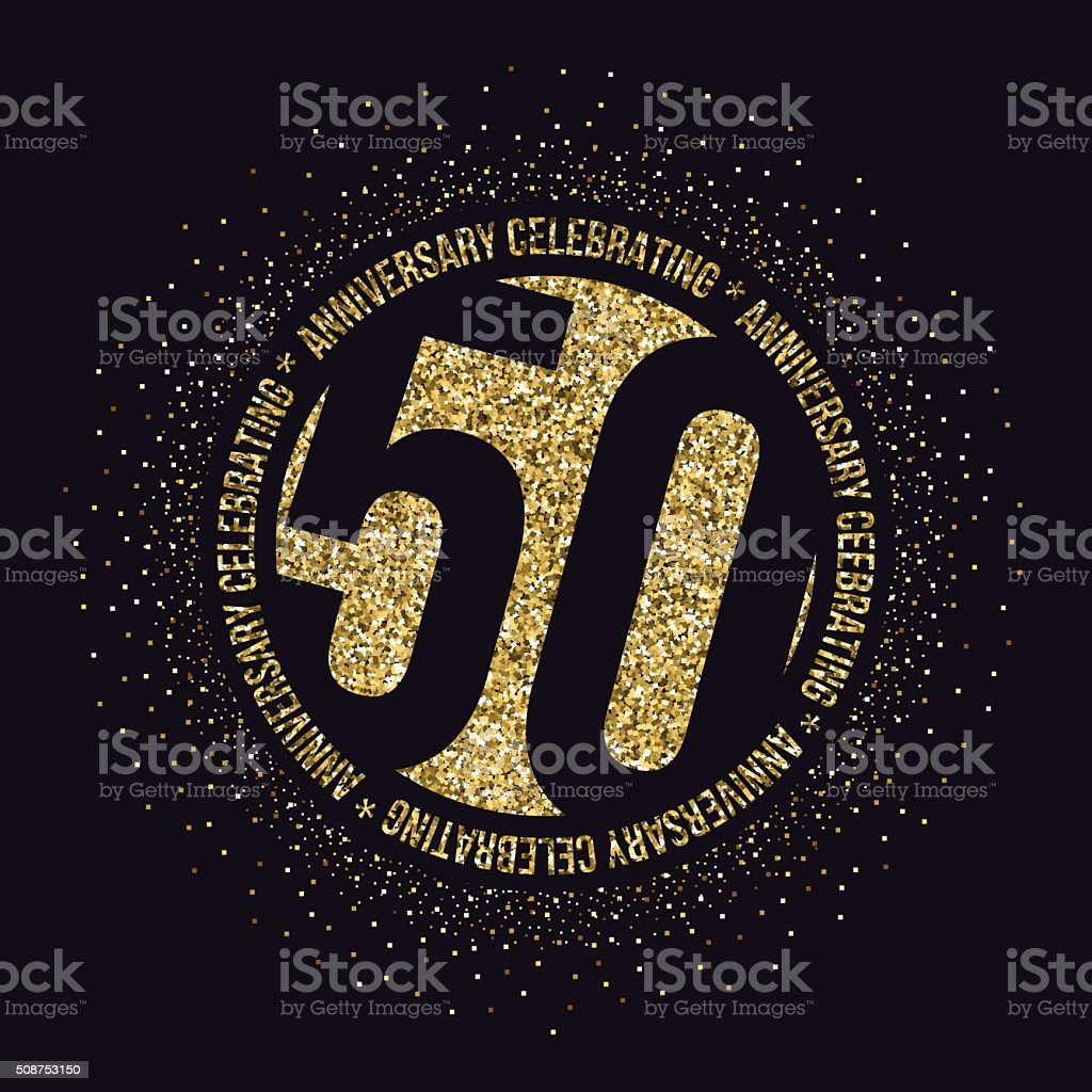 Fifty years anniversary celebration logotype. 50th anniversary golden logo. vector art illustration