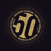 Fifty years anniversary celebration logotype. 50th anniversary golden logo.