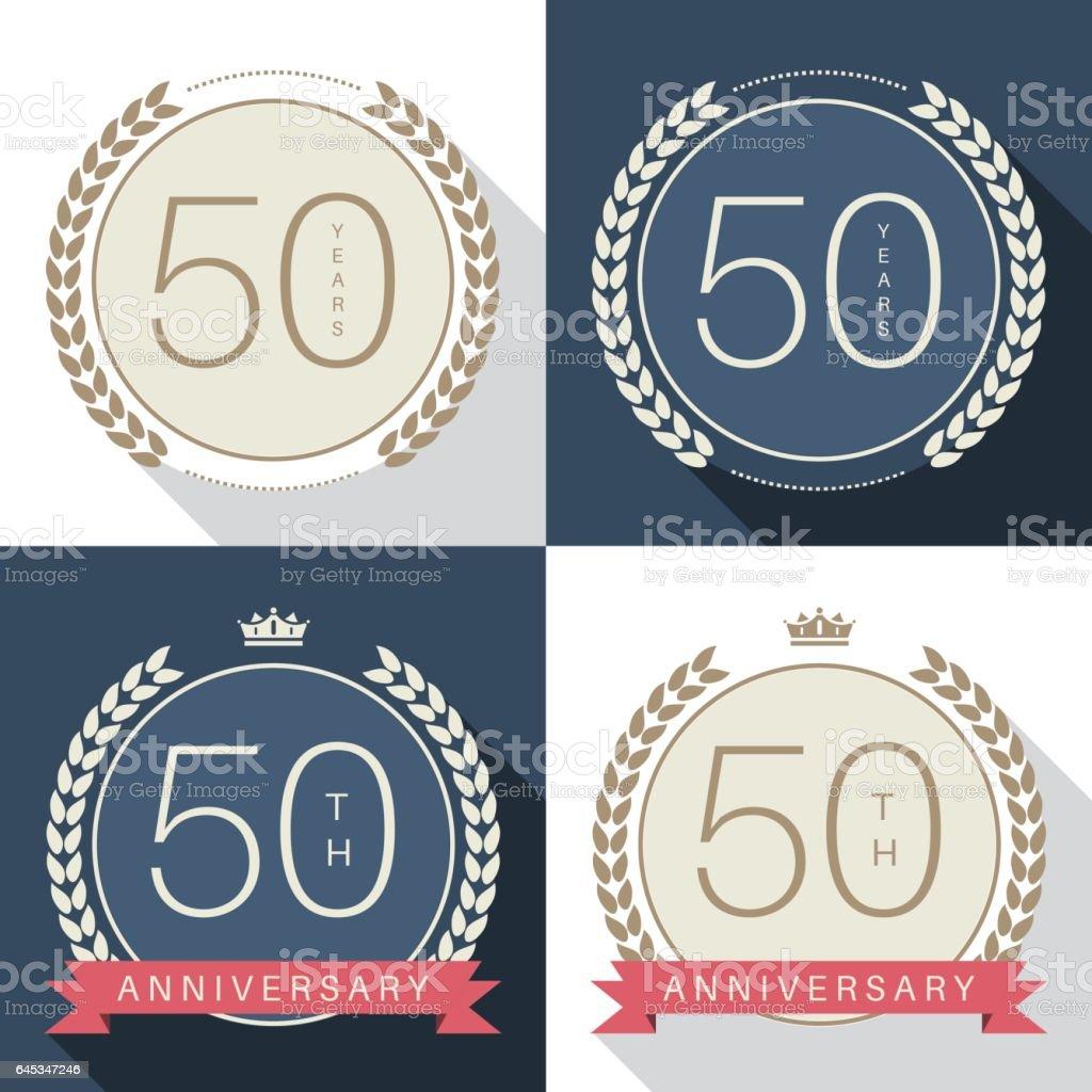 Fifty years anniversary celebration logotype. 50th anniversary logo set. vector art illustration