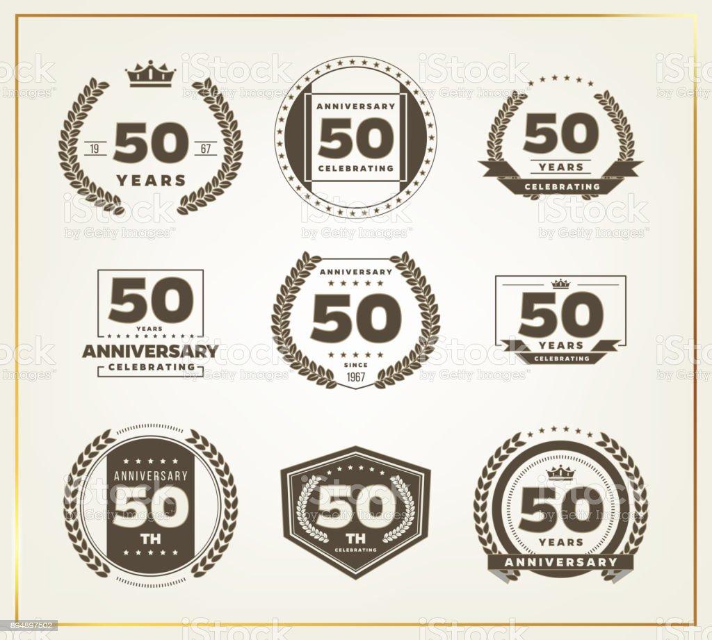 Logotipo de celebración de aniversario de 50 años. 50 aniversario logo conjunto. - ilustración de arte vectorial