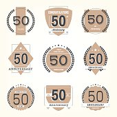 Fifty years anniversary celebration logotype collection. 50th anniversary logo.