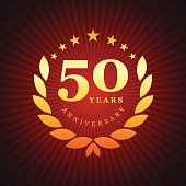 Vector of golden anniversary emblem for 50 years.