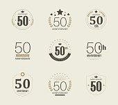 Fifty years anniversary logo. 50th anniversary vintage logotype.