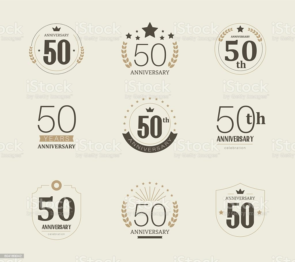 Fifty years anniversary logo. 50th anniversary vintage logotype. vector art illustration