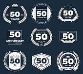Fifty years anniversary logotype. 50th anniversary vintage logo set.
