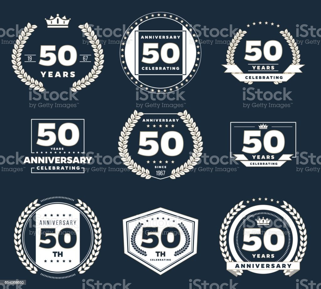 Fifty years anniversary logotype. 50th anniversary vintage logo set. vector art illustration