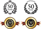 Fifty years anniversary medals with laurels.