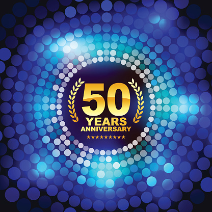 Vector of golden anniversary emblem for 50 years with blue abstract color background.