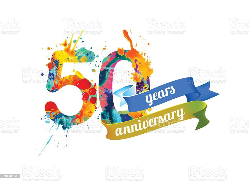 fifty years anniversary vector art illustration