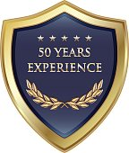 Fifty years experience gold shield with five stars.